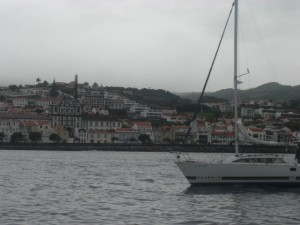 Coming into Horta by boat