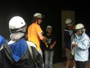 Getting geared up for the descend into the lava tube.