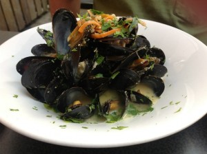 mussel lunch at The Great Dane