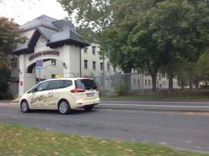 Gate at Ledward Barracks with taxi