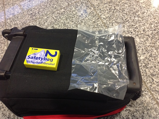 carry-on zip-top plastic bag at Frankfurt Airport