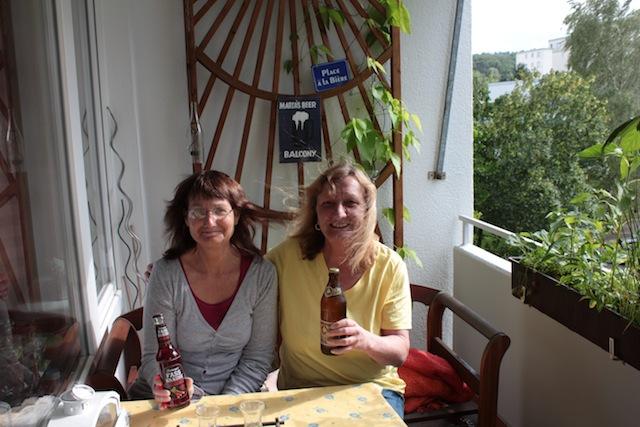 beer balcony with Debbie